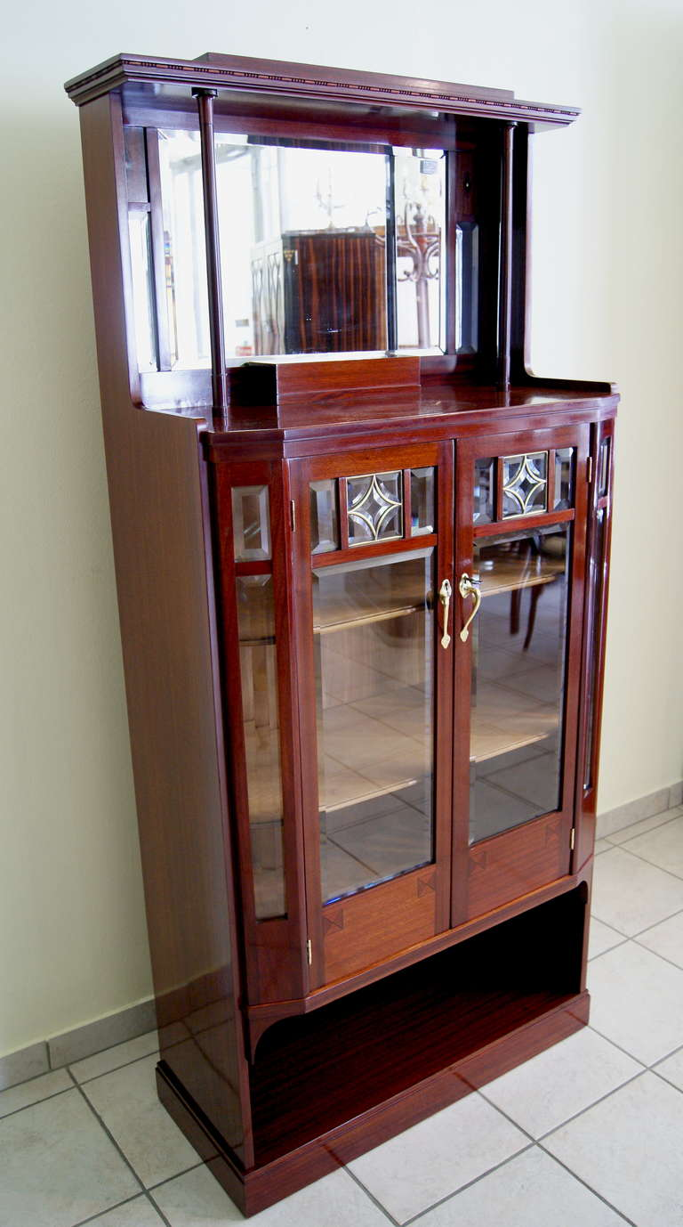 Austrian Art Nouveau Vertiko Glass Cabinet with Doors, Vienna, circa 1900 For Sale