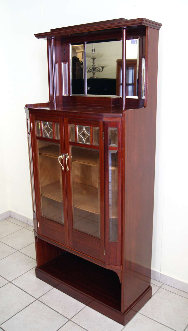 Mahogany Art Nouveau Vertiko Glass Cabinet with Doors, Vienna, circa 1900 For Sale
