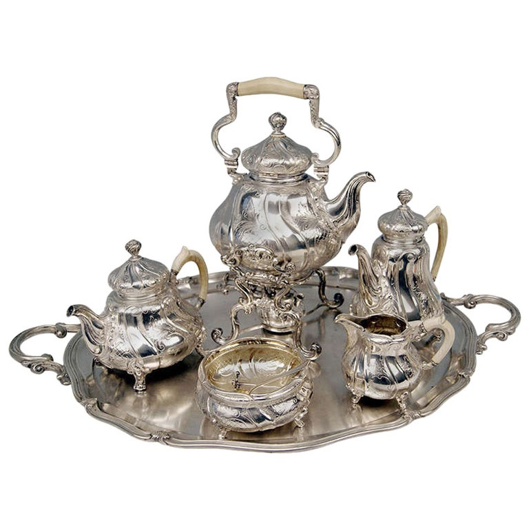 Silver Coffee Tea Set with Tray and Kettle, 278.65 oz, Germany, c. 1890 For Sale