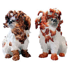 Meissen Pair of Bolognese Dog Figurines by Kaendler, 20th Century