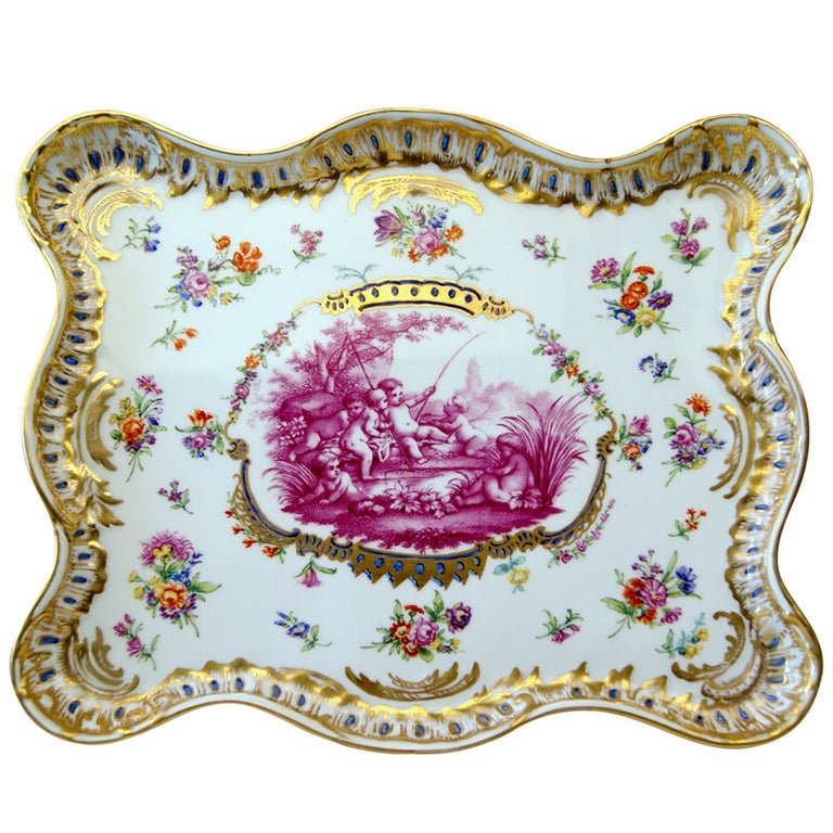 Meissen Teichert Large Platter Excellently Painted, 19th Century For Sale