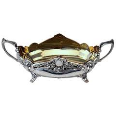 Silver German Centerpiece with Original Brass Liner, Art Nouveau, circa 1900