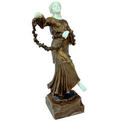 French Bronze Figurine Figure Lady Dancer Marble Base by Joseph d'Aste  c.1910