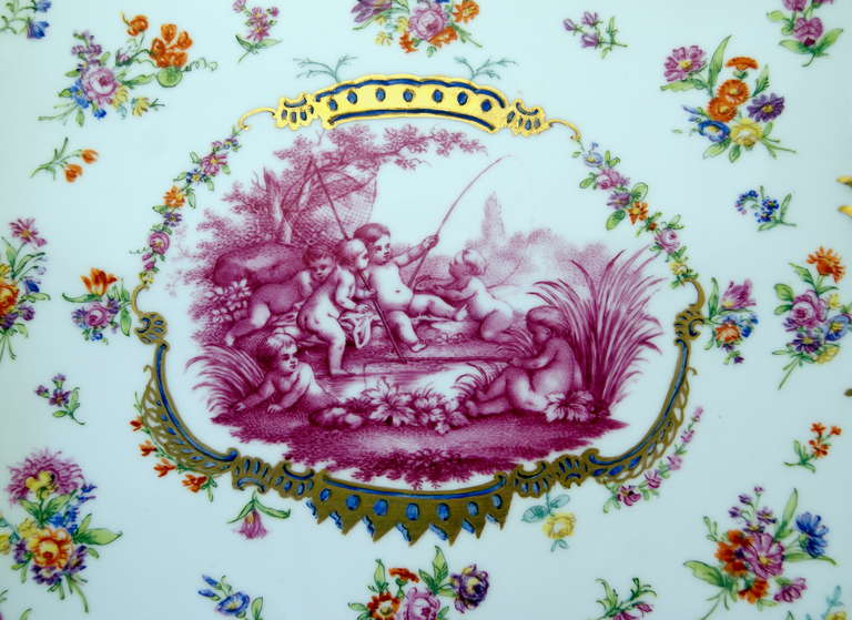 Rococo Meissen Teichert Large Platter Excellently Painted, 19th Century For Sale