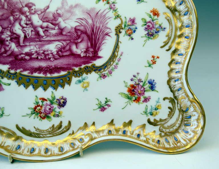 German Meissen Teichert Large Platter Excellently Painted, 19th Century For Sale