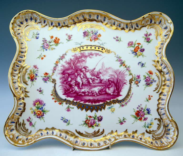 Meissen Teichert Large Platter Excellently Painted, 19th Century In Excellent Condition For Sale In Vienna, AT