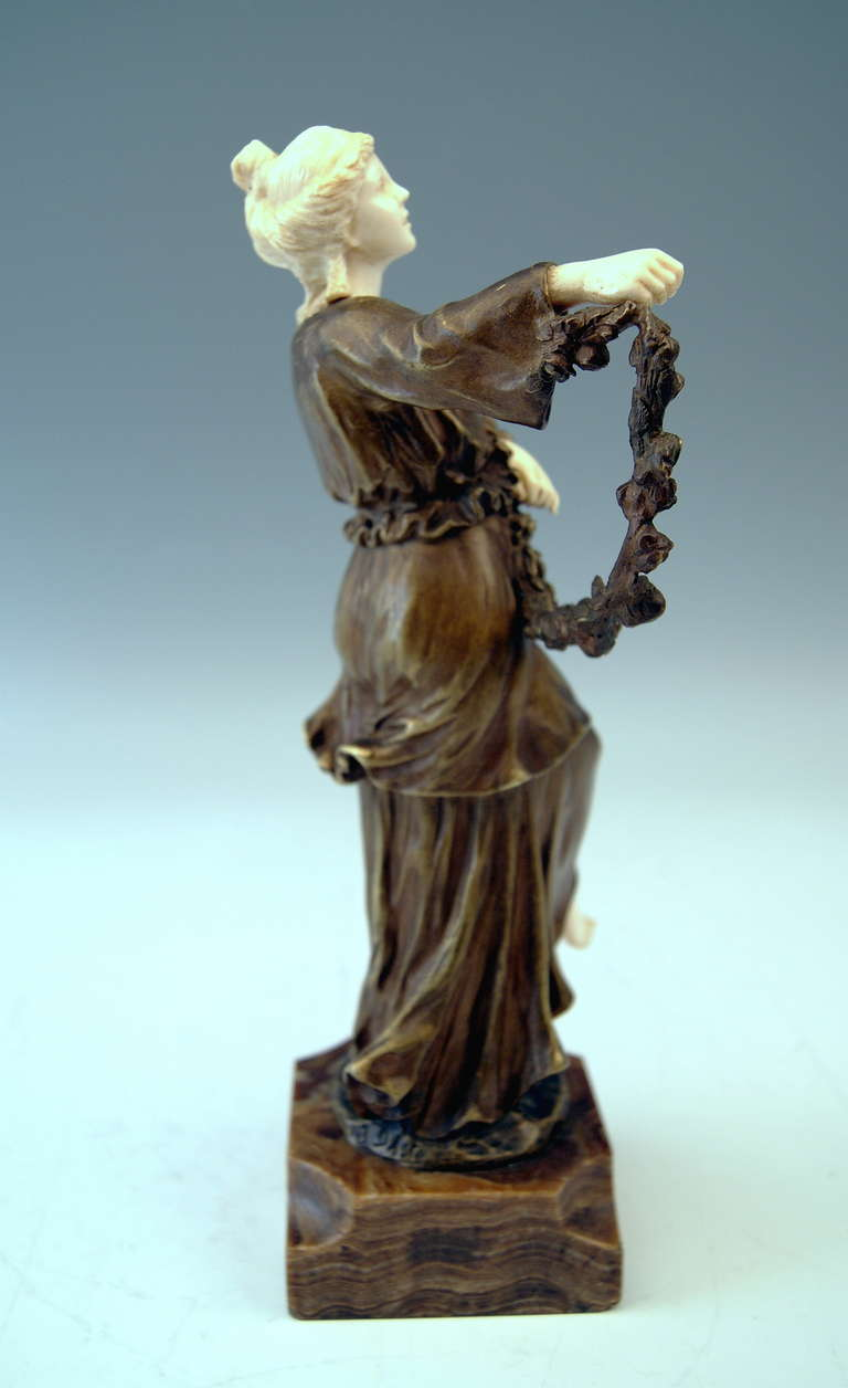 French Bronze Figurine Figure Lady Dancer Marble Base by Joseph d'Aste  c.1910 For Sale 5