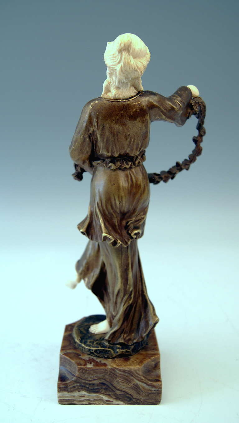 20th Century French Bronze Figurine Figure Lady Dancer Marble Base by Joseph d'Aste  c.1910 For Sale