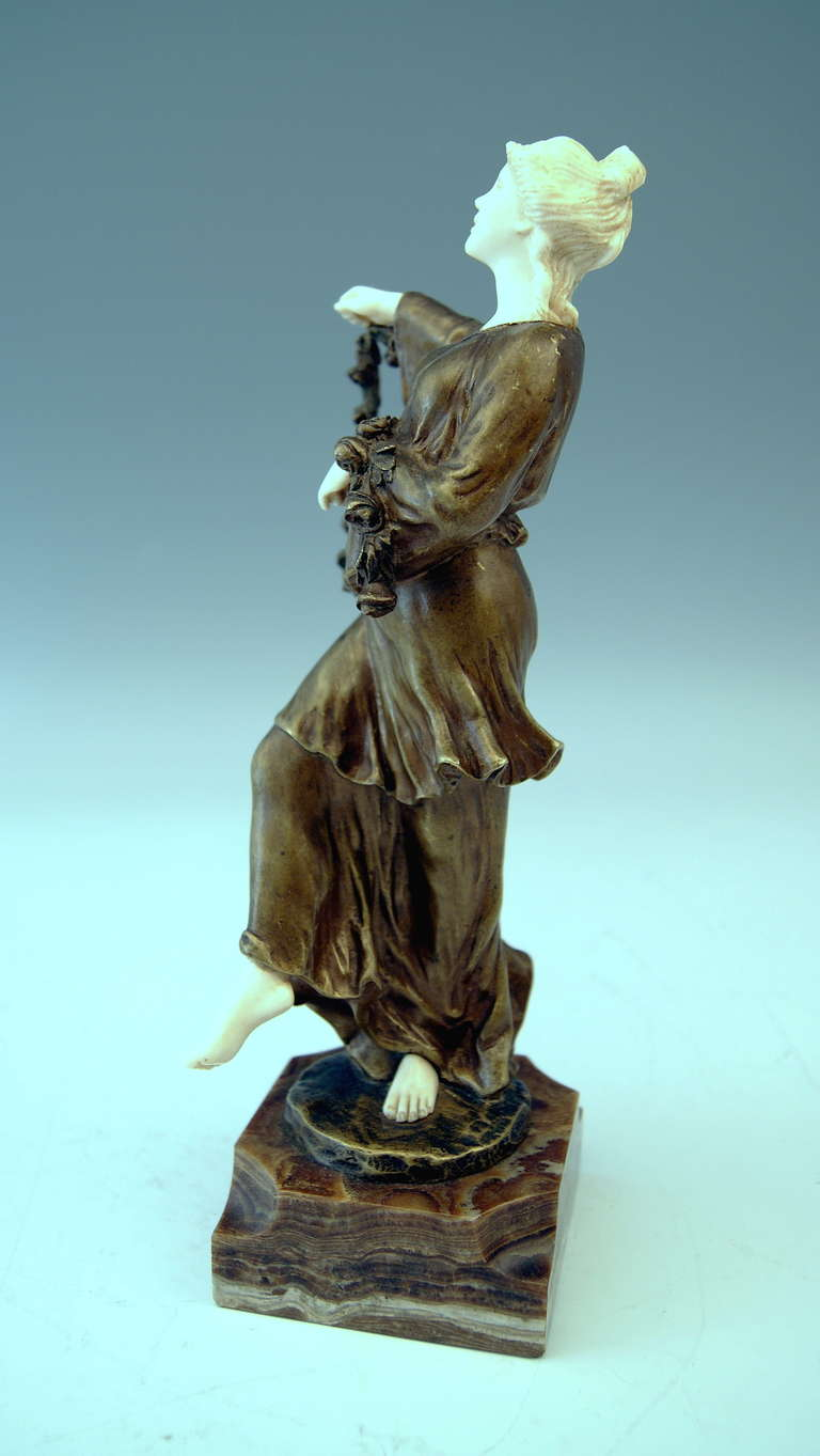 French Bronze Figurine Figure Lady Dancer Marble Base by Joseph d'Aste  c.1910 For Sale 1