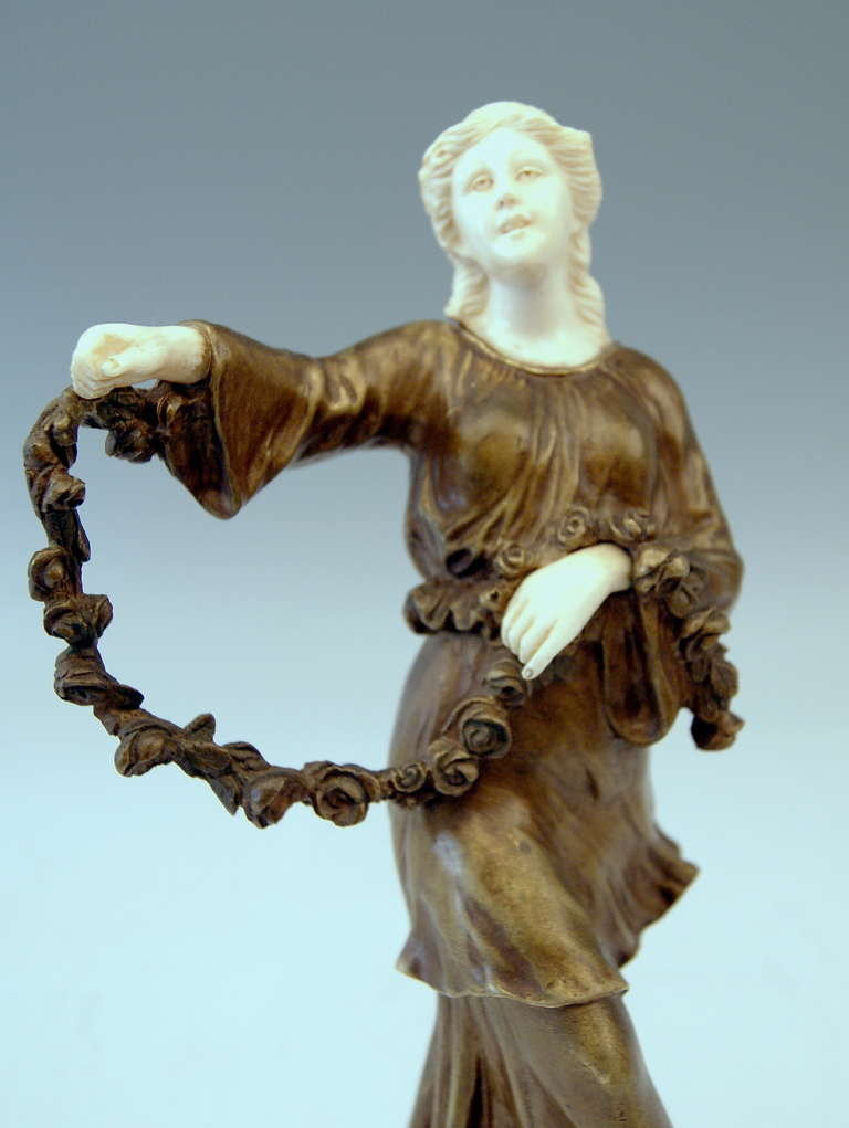 French Bronze Figurine Figure Lady Dancer Marble Base by Joseph d'Aste  c.1910 For Sale 2