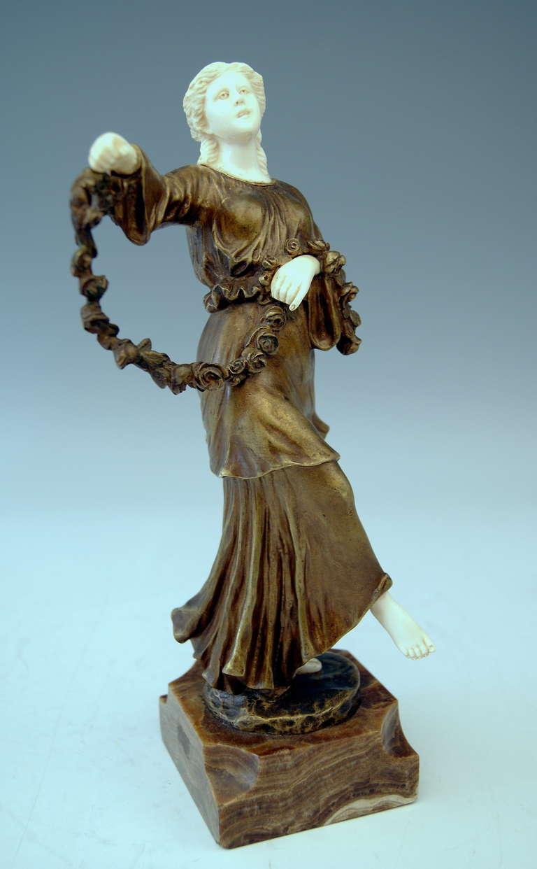 Gorgeous bronze figurine  - lady dancer - made by Italian-French sculptor Joseph d'Aste  (1881 - 1945) .