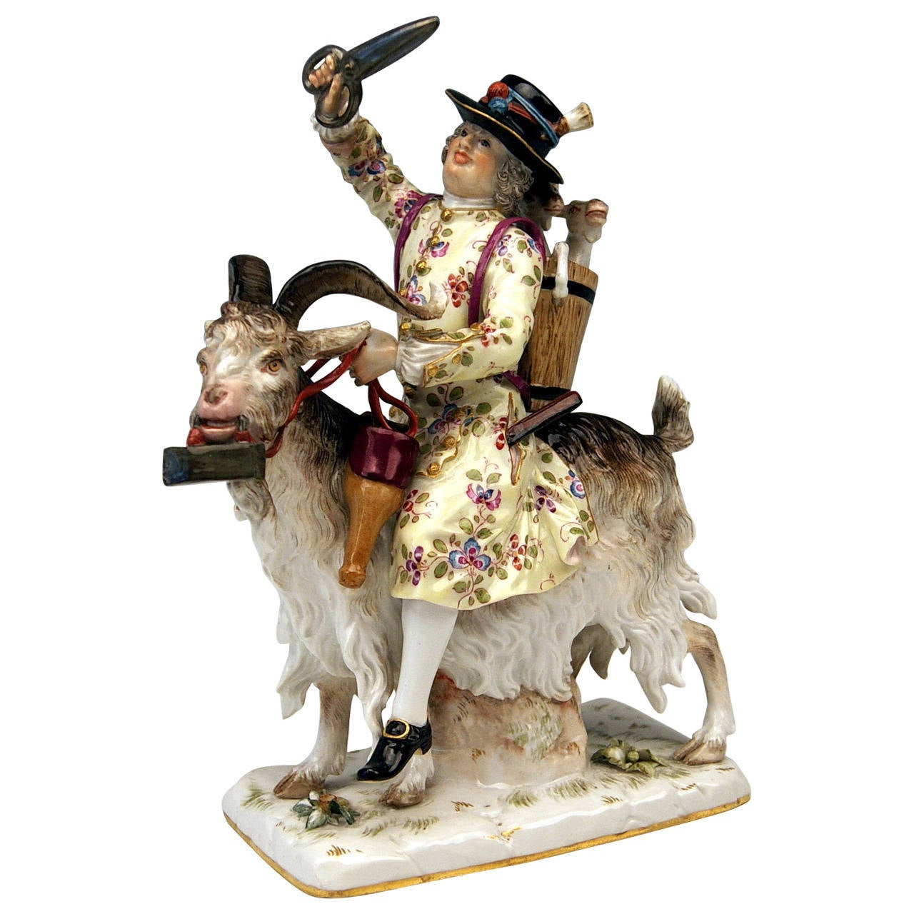Meissen Figurine Group by Kändler Tailor of Count Bruehl on a Goat, circa 1870