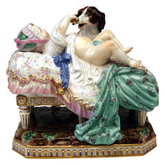 Meissen Lovely Figurine Group by Acier of the Placidness of Childhood, 1840