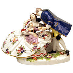 Meissen Figurine Group by Kaendler of the Lucky Family Gallant Figurines, 1860
