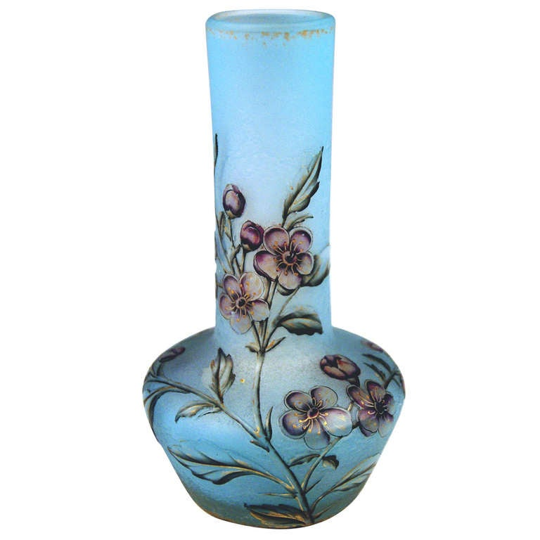 Daum Nancy Vase Flower Blossoms on Stems Art Nouveau France Lorraine c. 1900