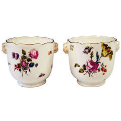 Meissen Pair of Cachepots Planters Flower Blossoms Rococo Period c. 1750