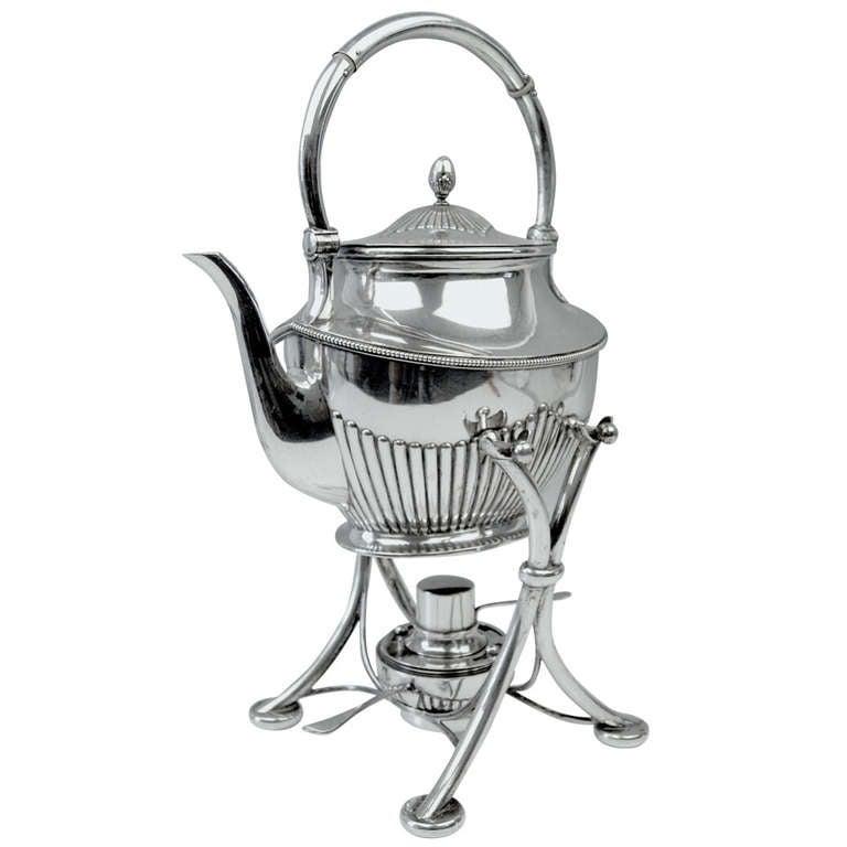 Silver German Samovar Art Nouveau Tea Pot by Langer & Guenther, Saxony, ca1910
