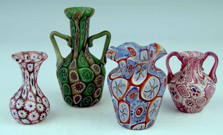 set of four murano vintage nice glass vases millefiori at 1stdibs. Black Bedroom Furniture Sets. Home Design Ideas
