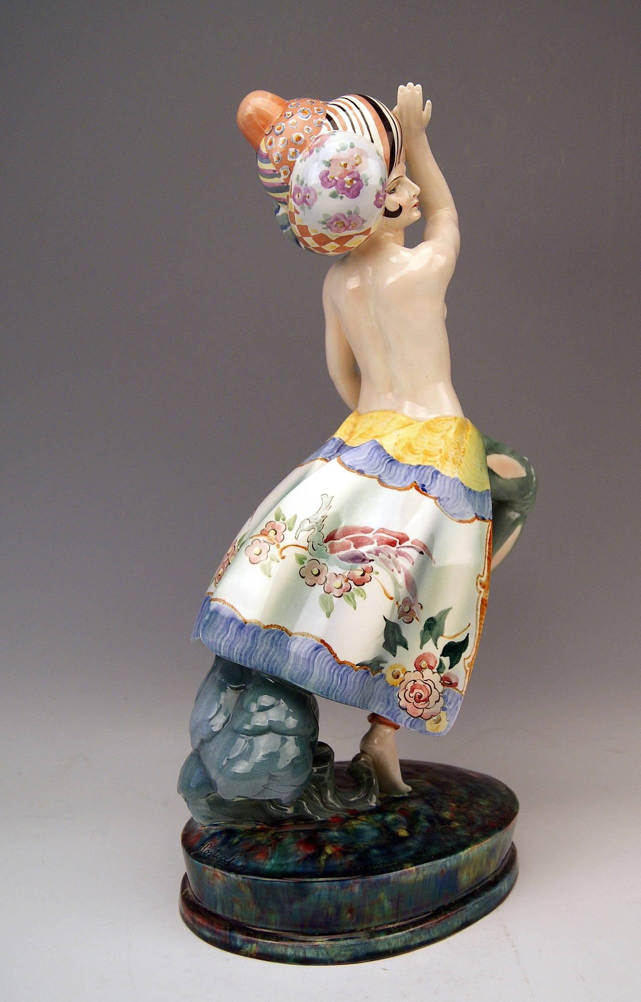 Goldscheider Vienna Rarest Lady Dancer Semi-Nude By Josef Kostial, Circa 1927 At 1Stdibs-1119