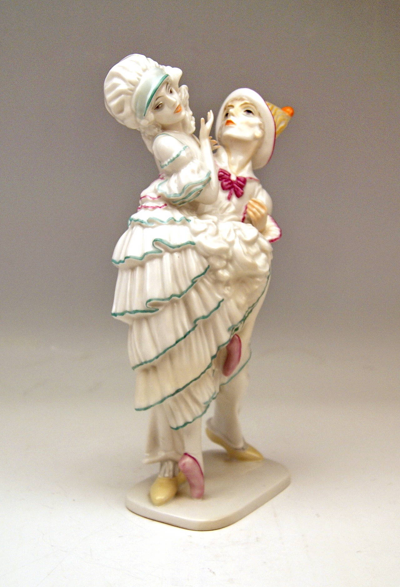 Art Deco ROSENTHAL GERMANY HARLEQUIN AND COLUMBINE C. HOLZER-DEFANTI c.1923-25 For Sale