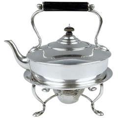 Sterling Silver Art Nouveau Tea Pot on Rechaud by Barnard UK, London, circa 1895