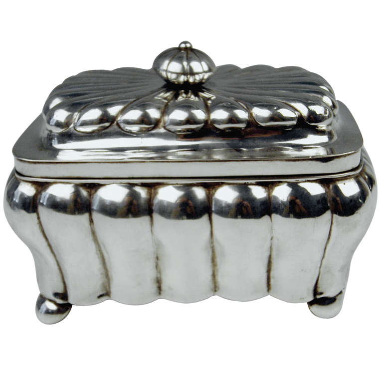 German Silver Biedermeier Sugar Box by G.F. Steusloff, circa 1853 For Sale