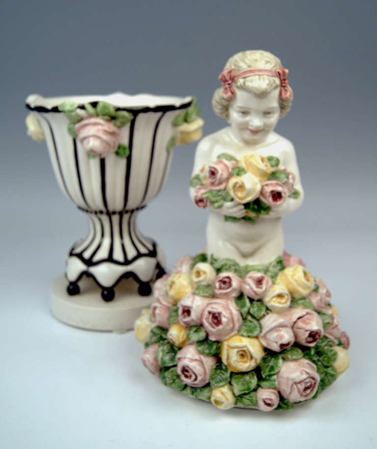 Ceramic Carl Klimt Most Lovely Art Nouveau Cherub Figurine on Lid of Bowl, circa 1910 For Sale