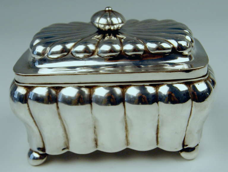 German gorgeous silver sugar box  middle of 19th century   /   made circa 1853   Excellently made sugar box  / sugar chest of rectangular form type with slightly domed lid having knob. The surface is decorated with bulged areas edged by lines  /