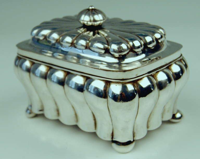 19th Century German Silver Biedermeier Sugar Box by G.F. Steusloff, circa 1853 For Sale