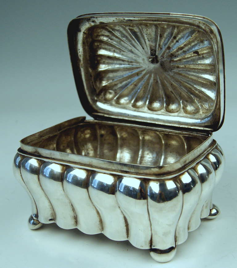 German Silver Biedermeier Sugar Box by G.F. Steusloff, circa 1853 For Sale 1