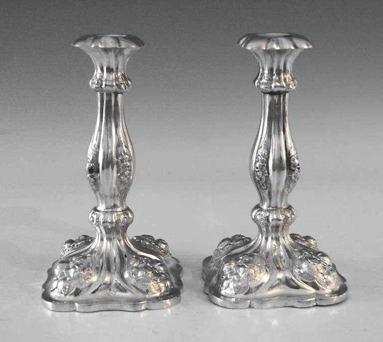 Silver Viennese Stunning Pair of Biedermeier Candlesticks, Dated 1860 2