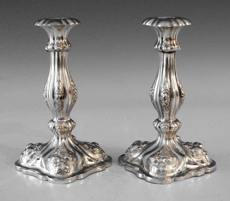 Silver Viennese Stunning Pair of Biedermeier Candlesticks, Dated 1860 3