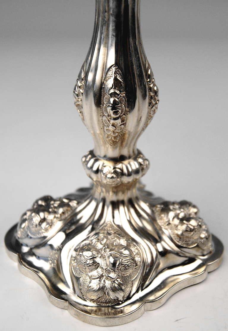 Silver Viennese Stunning Pair of Biedermeier Candlesticks, Dated 1860 5