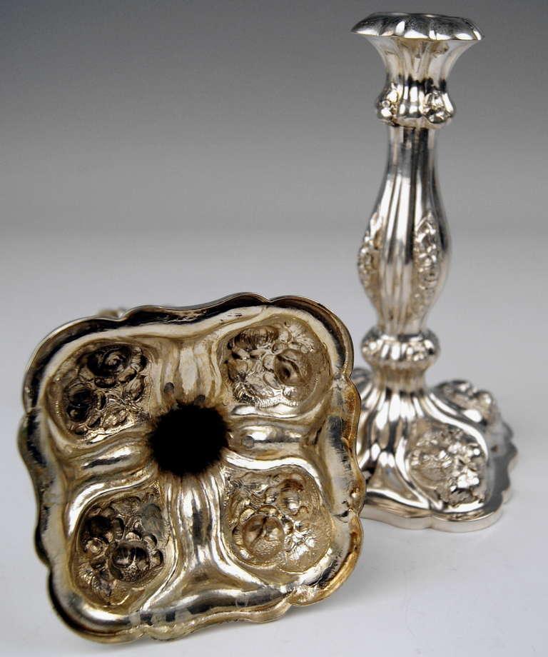 Silver Viennese Stunning Pair of Biedermeier Candlesticks, Dated 1860 6