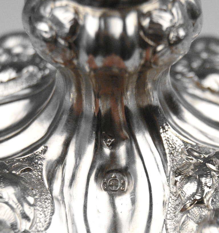 Silver Viennese Stunning Pair of Biedermeier Candlesticks, Dated 1860 7