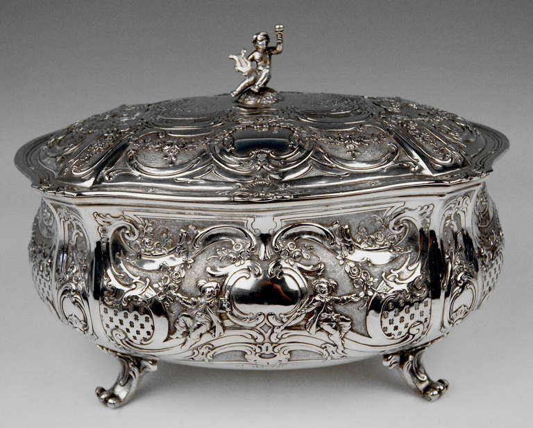GORGEOUS GERMAN SILVER HUGE LIDDED BOWL OF FINEST MANUFACTURING QUALITY: It is excellently decorated - made in following manner: VICTORIAN STYLE      Surface of  bowl with lid  is abundantly ornamented with chasing  / chiselled work consisting of