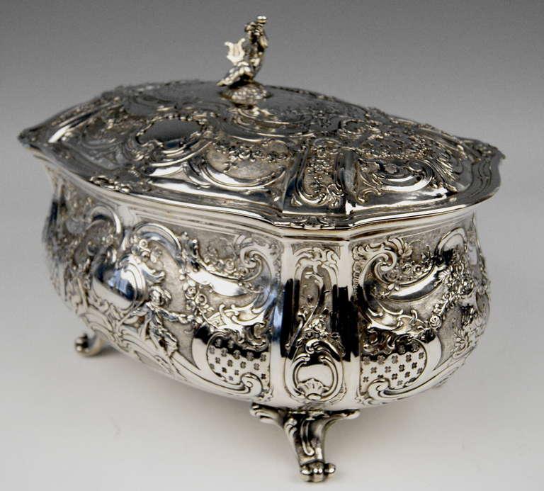 Victorian Silver Huge Lidded Bowl on Feet, Germany - Hanau, circa 1907-1910  1771 GRAMS    For Sale