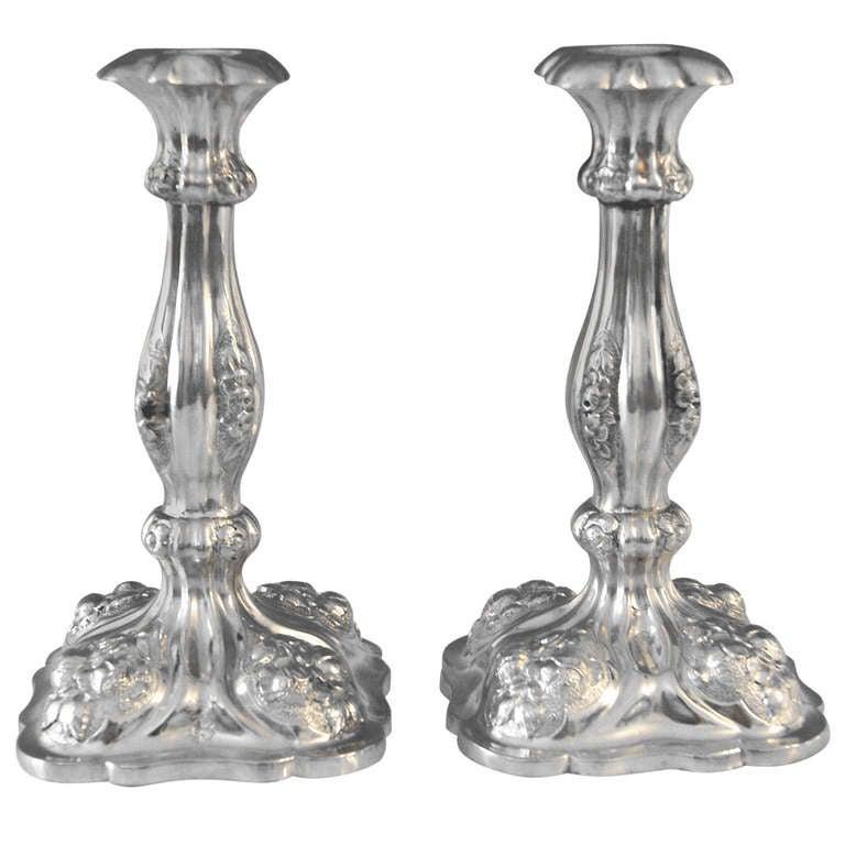 Silver Viennese Stunning Pair of Biedermeier Candlesticks, Dated 1860 1