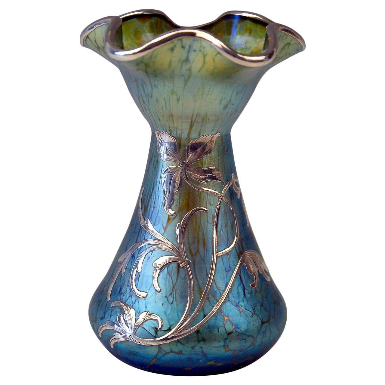 Vase loetz widow art nouveau cobalt papillon silver overlay circa vase loetz widow art nouveau cobalt papillon silver overlay circa 1900 for sale reviewsmspy