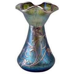 Vase Loetz Widow Art Nouveau Cobalt Papillon Silver Overlay, circa 1900