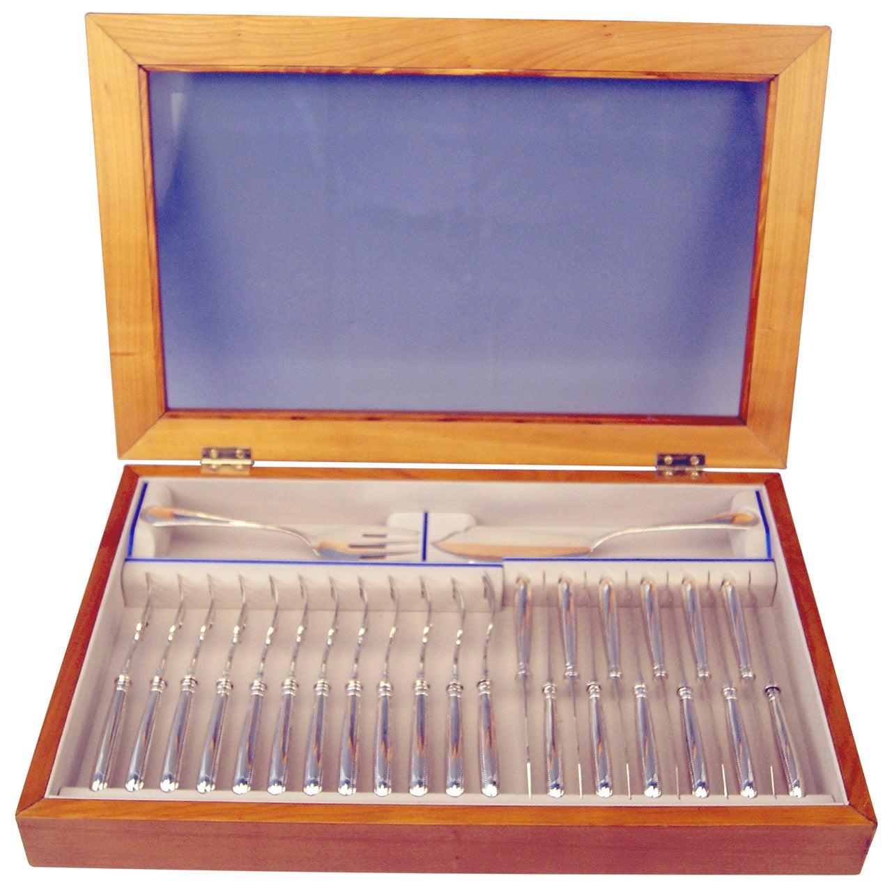 Silver 26-Piece Flatware Fish Cutlery 12 Persons Koch & Bergfeld Germany c.1900