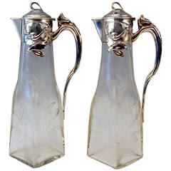 Silver Art Nouveau German Pair of Glass Decanters by Otto Wolter, circa 1900
