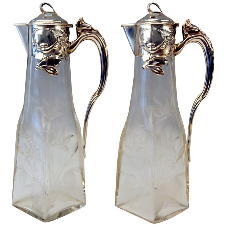 Silver Art Nouveau German Pair of Glass Decanters by Otto Wolter, circa 1900 For Sale