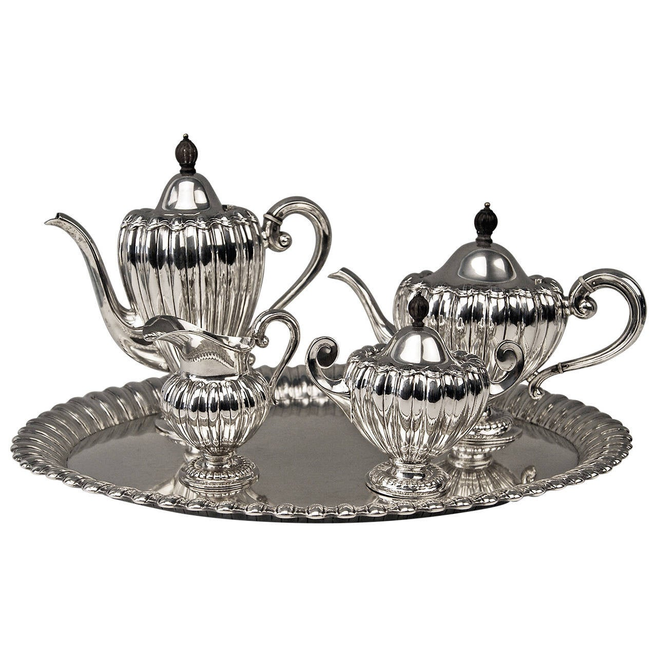 Silver Art Deco Coffee Tea Set Made by Wilkens, Germany, circa 1918 For Sale
