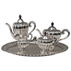 Silver Art Deco Coffee Tea Set Made by Wilkens, Germany, circa 1918