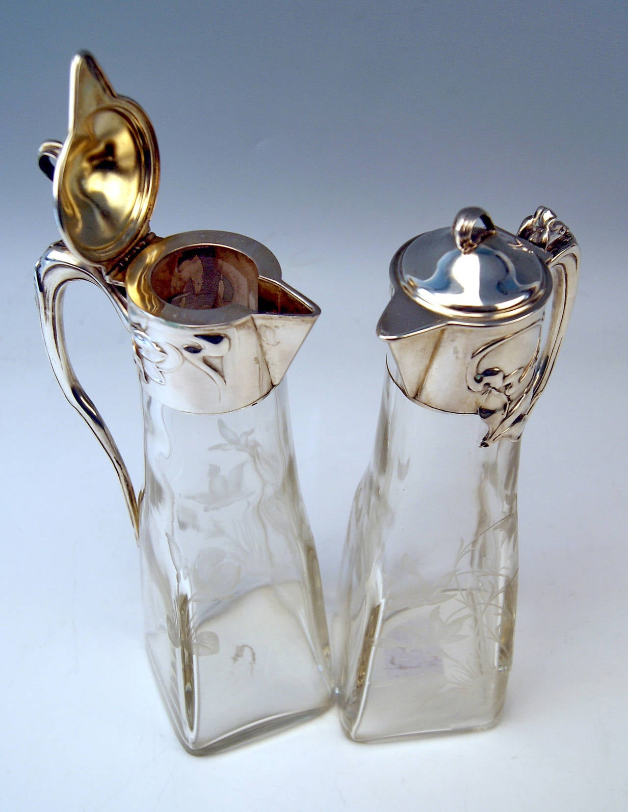 Silver Art Nouveau German Pair of Glass Decanters by Otto Wolter, circa 1900 3