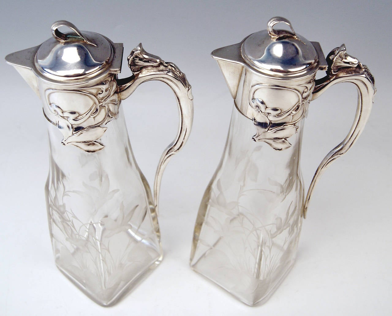 Silver Art Nouveau German Pair of Glass Decanters by Otto Wolter, circa 1900 7