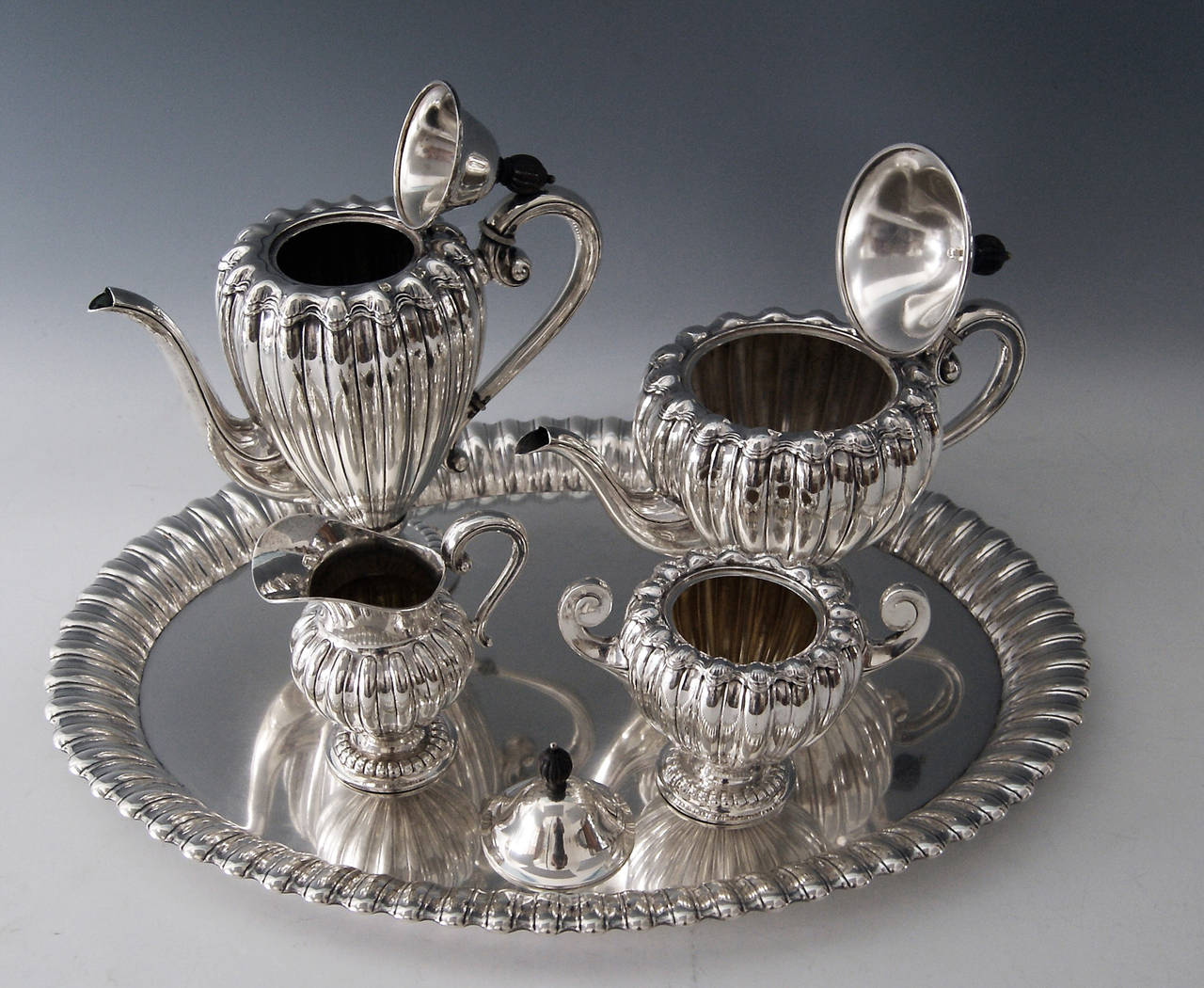 Early 20th Century Silver Art Deco Coffee Tea Set Made by Wilkens, Germany, circa 1918 For Sale