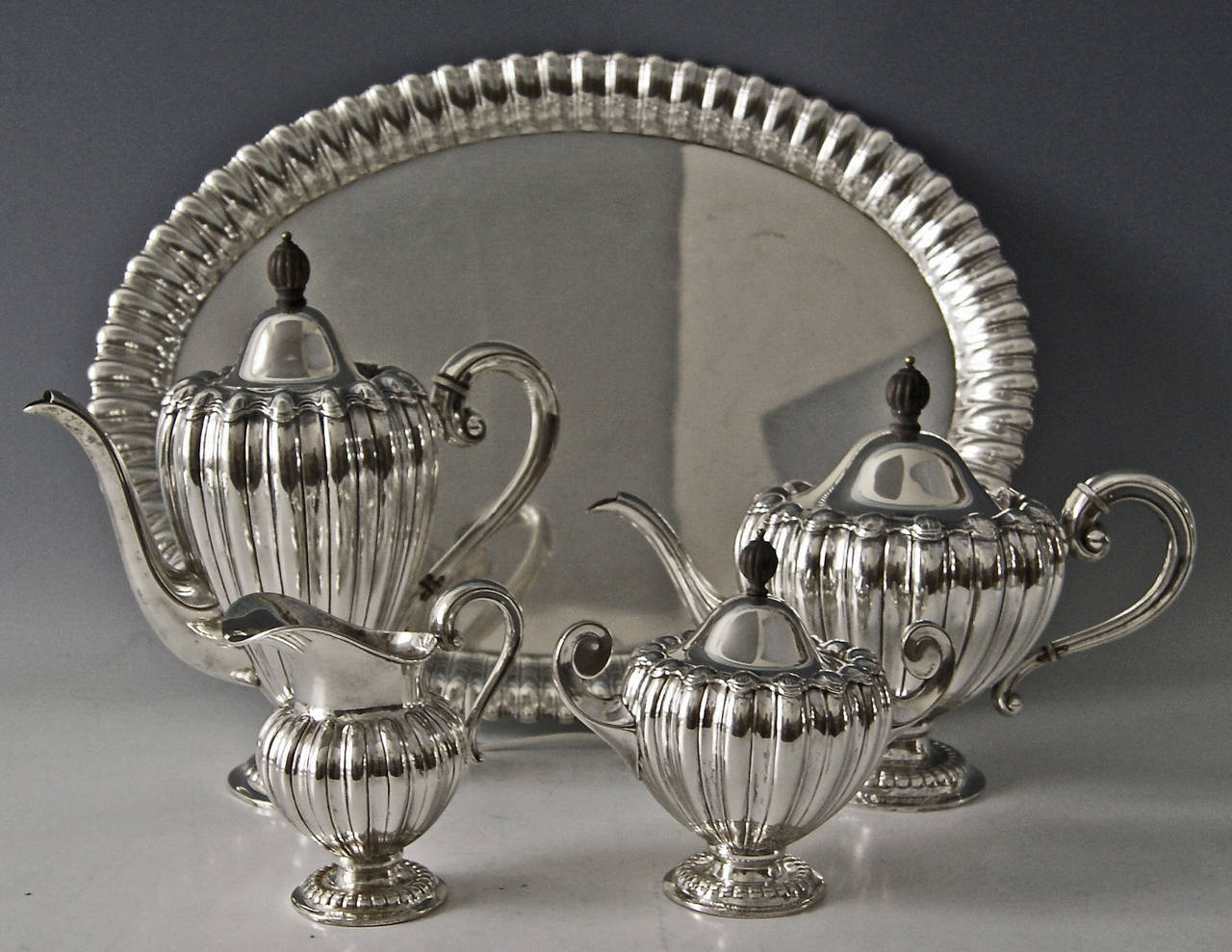 Silver Art Deco Coffee Tea Set Made by Wilkens, Germany, circa 1918 For Sale 1