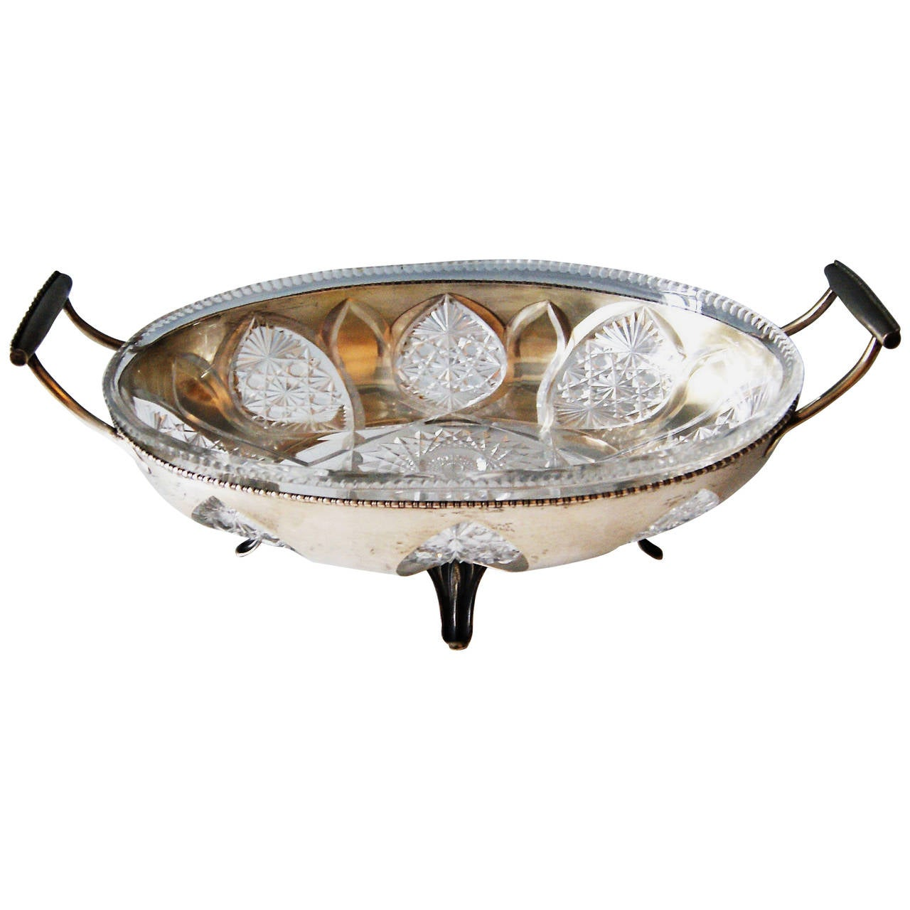 Silver Austrian Huge Bowl Glass Liner, circa 1900-1910 For Sale